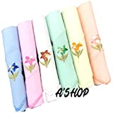 A'SHOP Women's Soft Cotton Hankies with Floral Embroidery and Threaded Border (Multicolour, 25x25cm) - Pack of 6