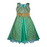 Aarika Girls' A-Line Maxi Dress (G-SR-2_Green_10-11 Years)