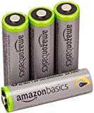 AmazonBasics 4 Pack AA Ni-MH High Capacity Pre-Charged Rechargeable Batteries, 1000 Cycles (Typical 2400mAh, Minimum 1900mAh) - Packaging May Vary