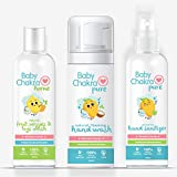 BabyChakra Safety Kit - 200 ml (Pack of 3) Natural Foaming Hand Wash + Pure Alcohol Free Hand Sanitizer + Natural Non Foaming Fruit, Veggies and Toys Wash Cleanser