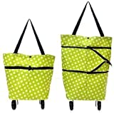 Big Saving Polyester Trolley Luggage Bags Traveling Vegetable Grocery Clothing Bag with Light Weight and Medium Size with Wheels - Multi Color