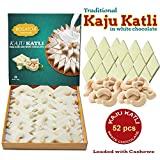 BOGATCHI Kaju Barfi White Chocolate, Goodness Milk and Roasted Cashews - Kaju Katli, 52pcs