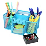Callas Premium Metal Mesh Desk Organizer with Plastic Clip Holder, Blue, CA365