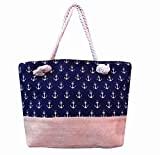 Craferia Export Utility Shopping Bag/Handbag With Lovely Blue Color Anchor Print