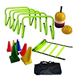 CW Leader Agility Soccer Training Kit with Speed Jumping Adjustable Hurdles Disc Marker Ground Cone Ladder & Carry Bag