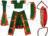 Fancyflight Green Bharatnatyam+2 line Ghungroo Classical Dance Costume for Girls Fancy Dress Competitions /Annual Functions/ School Events (10-12 Years)
