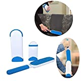 GNEY Pet Brush with Self-Cleaning Base, Double Size Hair Cleaner for Cat Dog Fur Removal from Home, Cloth, Sofa, Furniture (32 x 7.5 x 5 cm, Blue and White)