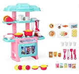 HALO NATION Kitchen Set for Girls - 47 pcs Cartoon Themed Series Kitchen playset with Full Utensils Set (Icecool)