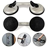 "Homdum® Aluminum 4.8"" Lifting Suction Cup Plate Double/Two Handle Locking (2 claw) Sucker Flat Gripper for Lifting Mirror/Tiles/Granite slab, Heavy Duty Glass Lifter/car Dent Puller."