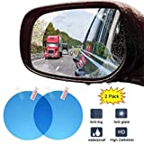 i-Birds AntiFog RearView Waterproof & Rain Mirror Window Transparent Anti-Glare Clear Protector Film Suitable for All Models Car, SUV, Truck, Bus, Trailer, Motorcycle Side Mirrors (Circle) (Pair of 1)