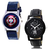 Konark Global Combo of 2 Men & Boys Shield and Pub g dial Genuine Leather Performed Wrist Watch