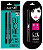 Lakme Eyeconic Kajal Twin Pack, Black, 0.35g with 0.35g & Elle 18 Eye Drama Kajal, Bold Black, 0.35g