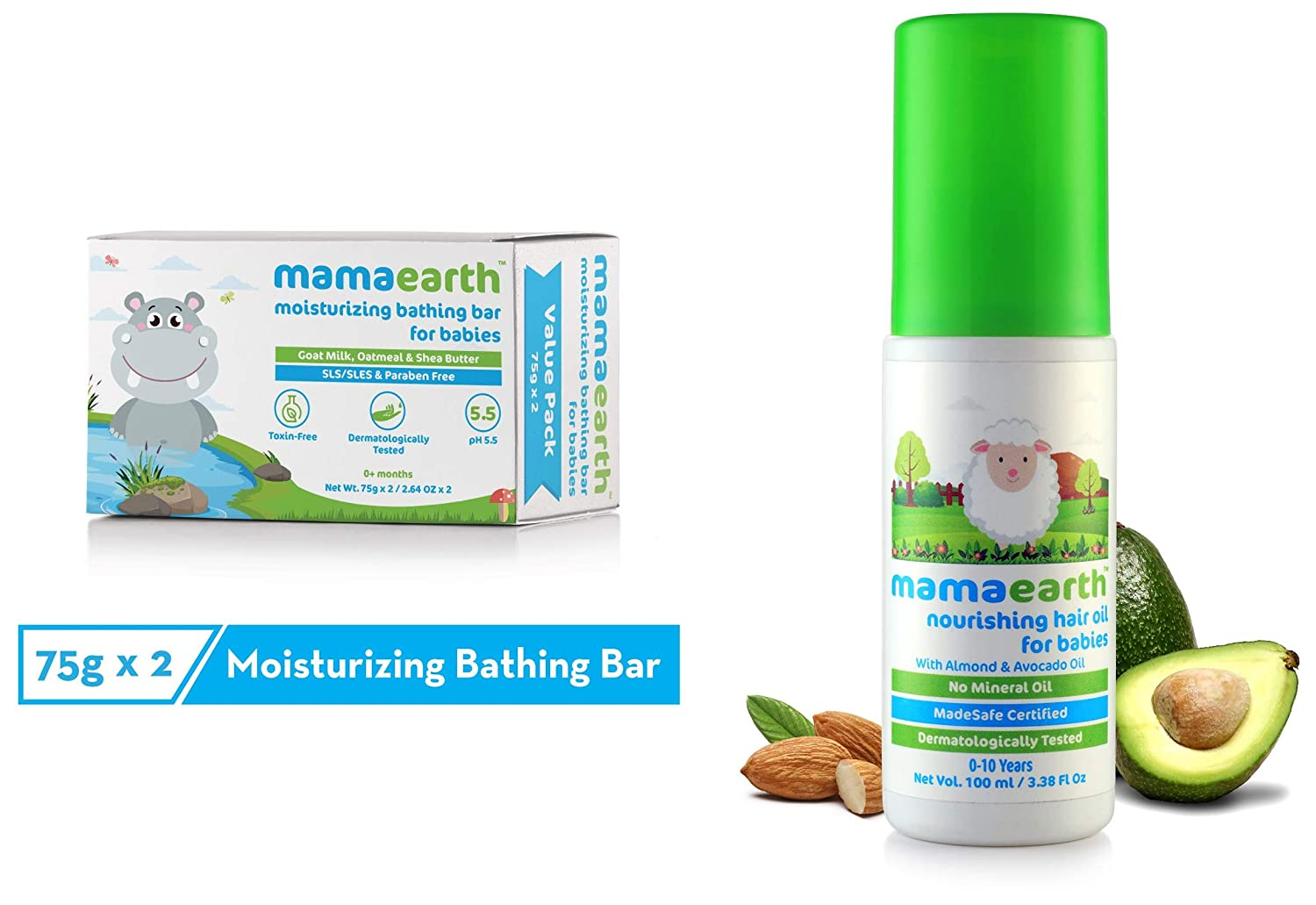 Mamaearth Moisturizing Baby Bathing Soap Bar pH 5.5 with Goat Milk and Oatmeal, 75g (Pack of 2) & Nourishing Hair Oil for Babies 100ml (0-10 Years) Combo