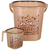 Nayasa 2 Piece Plastic Bathroom Bucket and Mug Set, Brown