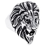 Peora 316L Stainless Steel Lion Head Unique Design Ring for Men and Boys