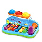 PETIT TOYS Baby Learning Musical Rainbow Piano Pounding Bench with Balls and Hammer Toy