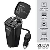 Portronics CarPower One Portable 200W Car Inverter with Single AC 220V Output (POR-003, Black)