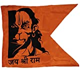 Poveria Hanuman ji Printed Flag Bajrang Bali face Print Jai Shree Ram Bhagva dwaj Jhanda (Full Size 30x40 inch)