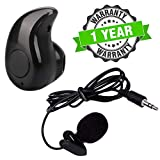Raptas Noise Cancellation Voice Recording Lavalier Microphone with Mini Clip & Invisible Wireless S530 Kaju Calling and Music Stereo Bluetooth Headset with Mic for All Android/iPhone Devices