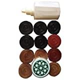 Skera Set of Carrom Coins, Striker & Carrom Powder