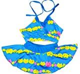 Sports Girls Swim 2 Piece Suit Cat Cartoon Print (Swimming Costume Swimwear) 18-23Kg Blue