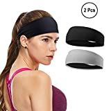 TOUARETAILS Set of 2 Women's Yoga Sport Athletic Headband for Running Sports Travel Gym Fitness Elastic Wicking Workout Non Slip Lightweight Multi Headbands Headscarf fits All Men and Women