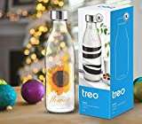 Treo by Milton Ivory Premium Glass Printed Bottle 1000 ml, 1 Pc, Yellow Floral