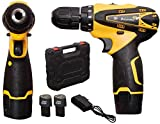 TWONE 10 mm Keyless Chuck 12V Cordless Drill/Screwdriver with 2 Batteries, Variable Dual Speed (Yellow)