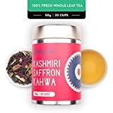 Udyan Kashmiri Saffron Kahwa Tea, 50g - Champagne Gold Gift Caddy | Loose Green Tea with Saffron, Rose, Almonds, Spices