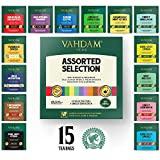 Vahdam Tea Assortment | 15 Teas, 1 Pyramid Tea Bags Each | Best of Green Tea, Oolong Tea, White Tea, Black Tea, Herbal Tea & Chai Tea|15 Tea Bags Bag, 30 g