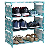 WowObjects 3 Layers Portable Multi-Utility Foldable Storage Shoes Rack for Home (Tuquoise)