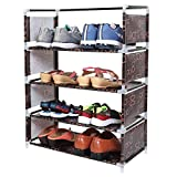WowObjects 4 Layers Portable Multi-Purpose Foldable Storage Shoe Rack for Home (Brown)