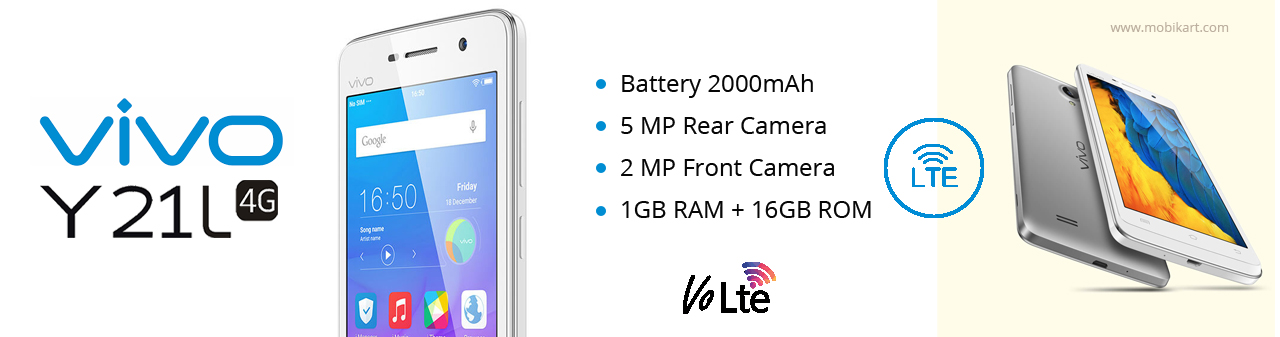 Vivo Y21L launched in India with 4G VoLTE, Snapdragon 410 SoC at price tag of Rs. 7,490