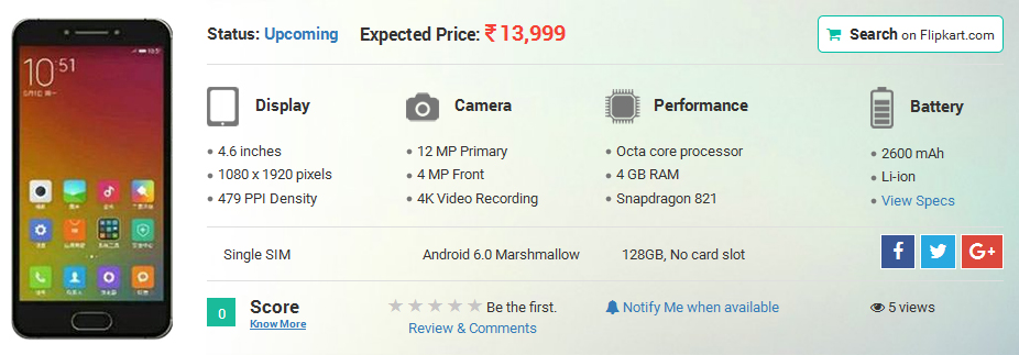 Xiaomi Mi S Smartphone Leaked Online: Specification and Features