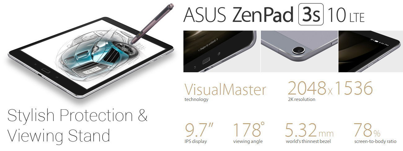 Asus ZenPad 3S 10 LTE Tablet Launched with 7800mAh Battery