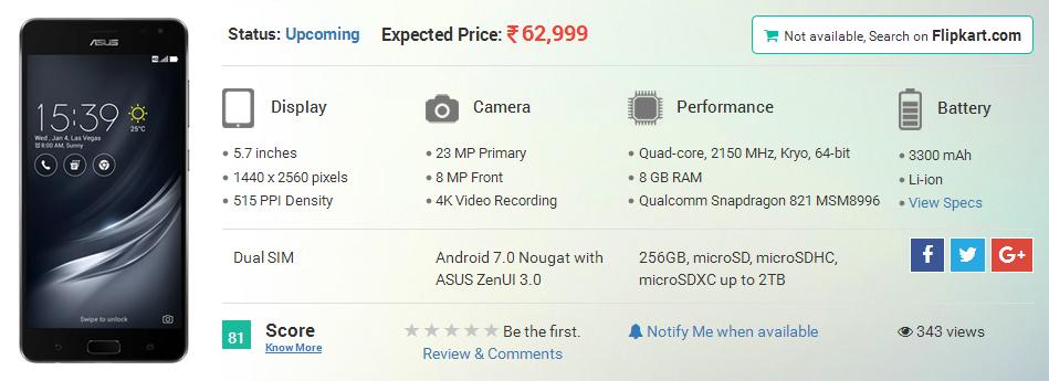 Asus Zenfone AR to Launch Soon in the US Market