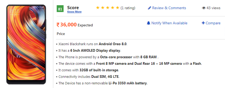 Xiaomi Blackshark Spotted on Geekbench: To Boast 8GB RAM, 18:9 Display