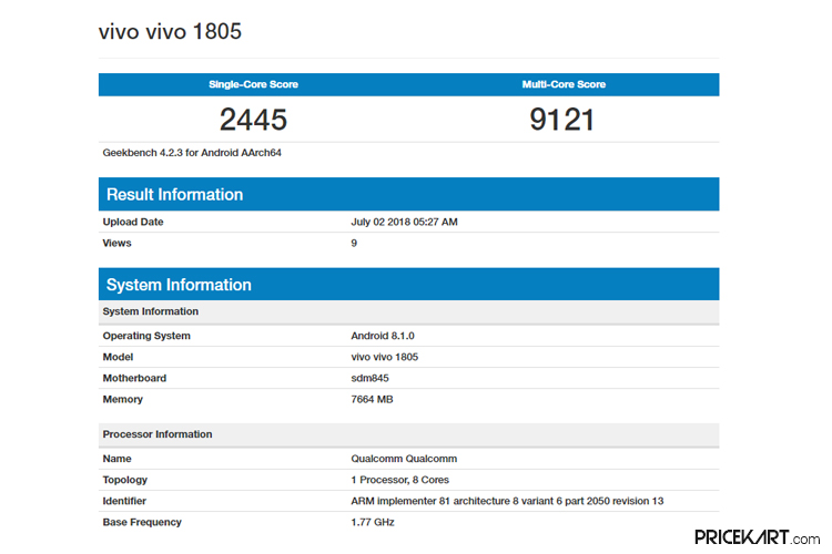 Vivo 1805 Specifications Leaked Online