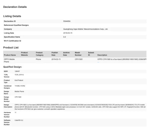 Oppo AX5s Bluetooth Certification Reveals Specifications of the Smartphone